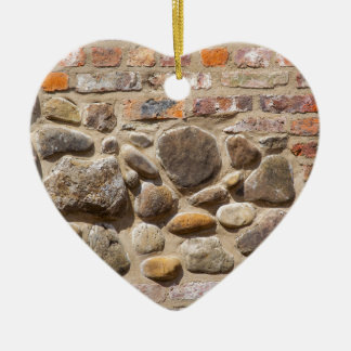 Brick and stone wall christmas ornament