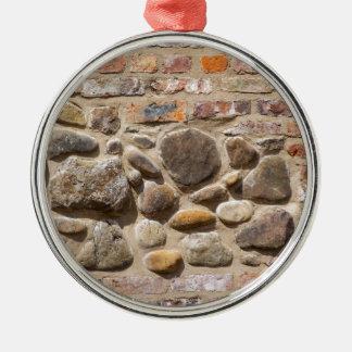 Brick and stone wall christmas ornament