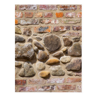 Brick and stone wall postcard