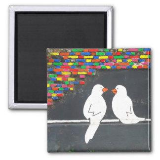brick bird wall : graffiti wall square magnet
