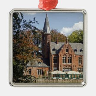 Brick church on Minnewater Silver-Colored Square Decoration