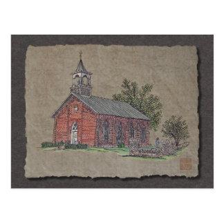 Brick Country Church Postcard