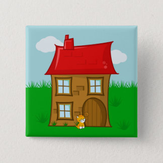 Brick House with Red Roof and Ginger Cat 15 Cm Square Badge