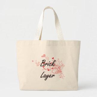 Brick Layer Artistic Job Design with Hearts Jumbo Tote Bag
