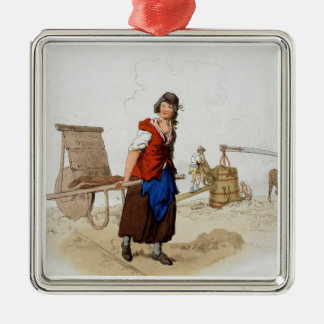 Brick Maker, from 'Costume of Great Britain', publ Silver-Colored Square Decoration
