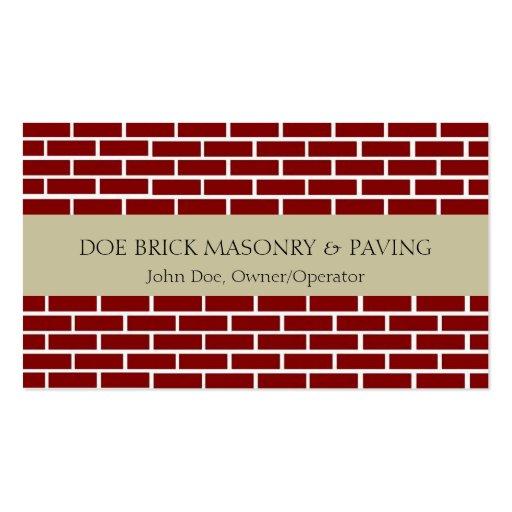 Brick Mason Tan/Fire Red Brick Business Card Template