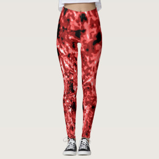 Brick Red and Salmon Sea Urchin Textured Leggings