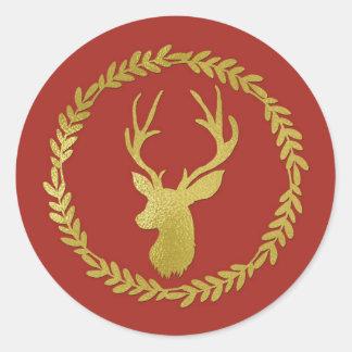 Brick Red Green Wreath Gold Deer Christmas Classic Round Sticker