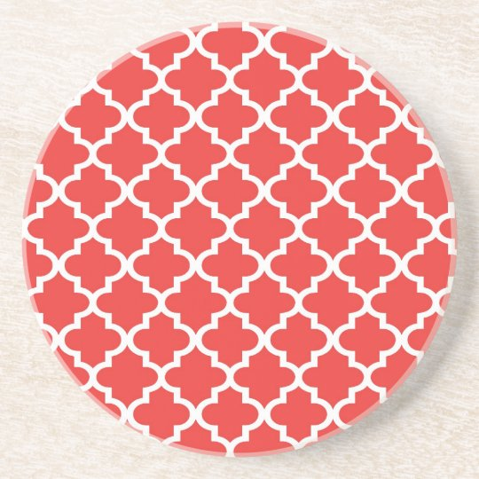 Brick red Moroccan tile pattern geometric modern Coaster