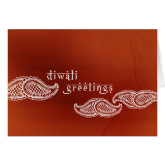Brick Red Paisleys Diwali Card
