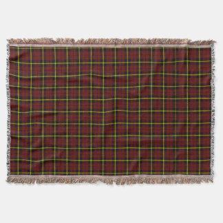 Brick red plaid print, black yellow stripe throw blanket