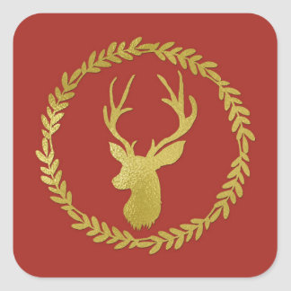 Brick Red Wreath Gold Deer Christmas Square Sticker