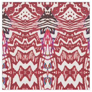 Brick Tribal Chevron Pattern Fabric