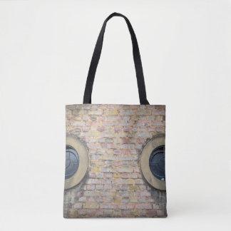 Brick wall and windows all-over-print tote bag