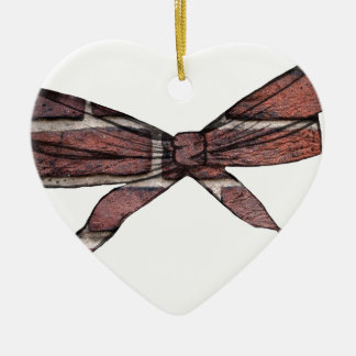 Brick wall bow christmas ornament