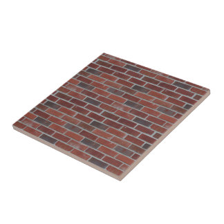 Brick Wall, Brickwork, Brick Rows - Red White Small Square Tile