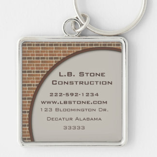 Brick Wall Collection Silver-Colored Square Key Ring
