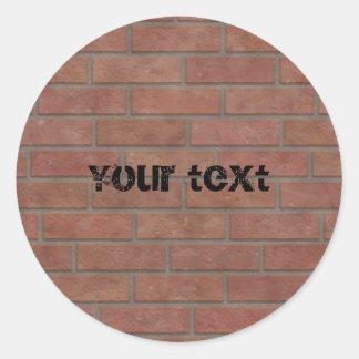 Brick wall design classic round sticker