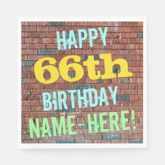 Brick Wall Graffiti Inspired 66th Birthday + Name Disposable Napkin