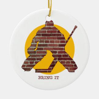 Brick Wall Hockey Goalie Christmas Ornament