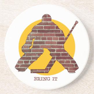 Brick Wall Hockey Goalie Coaster
