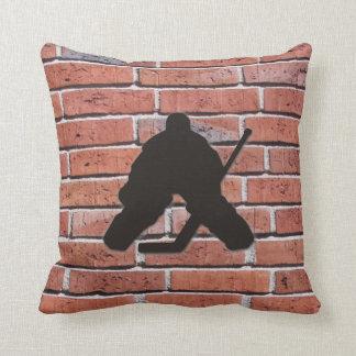 Brick Wall Hockey Goalie Silhouette Cushion