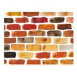Brick wall in brown shades, watercolor painting post card