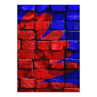 Brick Wall Painted Blue Red Pattern Gifts 13 Cm X 18 Cm Invitation Card