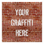 Brick Wall Personalised Graffiti Custom Poster