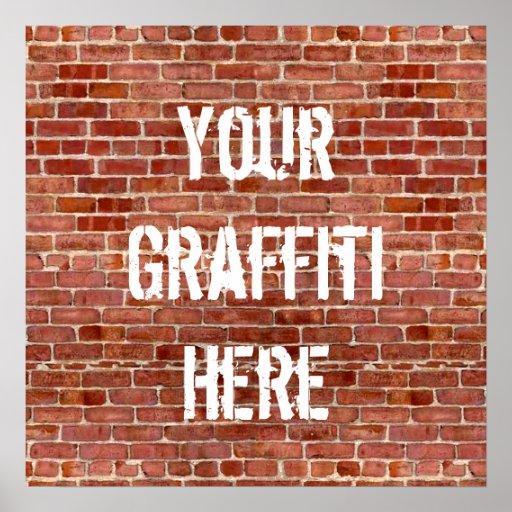 Brick Wall Personalised Graffiti Custom Poster
