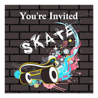Brick Wall Skate Graffiti Logo With Board 13 Cm X 13 Cm Square Invitation Card
