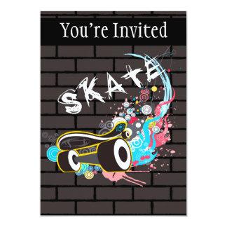 Brick Wall Skate Graffiti Logo With Board Card
