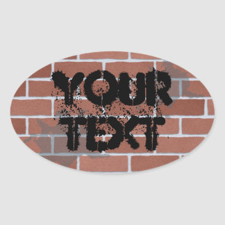 brick wall, YOUR TEXT Oval Sticker