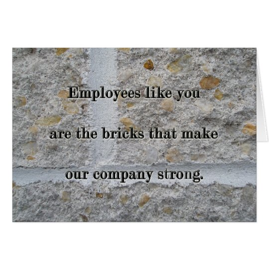 Bricks Employee Service Anniversary Thanks Card
