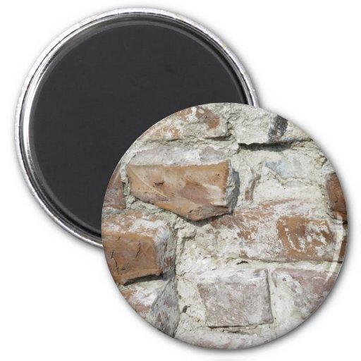 Bricks old wall 6 cm round magnet