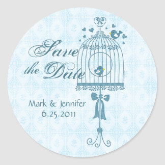 Bridal Bird Cage Save The Date Sticker