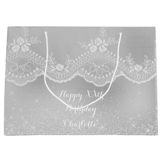 Bridal Birthday White Silver Gray Lace Glitter Large