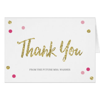 Bridal Bling Gold   Bridal Shower Thank You Note Note Card