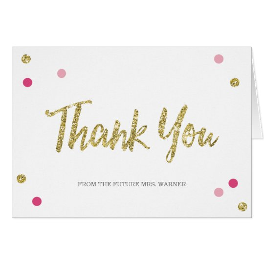 Bridal Bling Gold | Bridal Shower Thank You Note Card