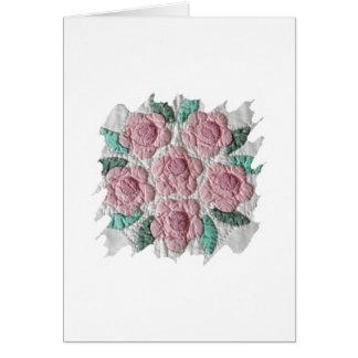 Bridal Bouquet of Pink Roses Applique Quilt CARD