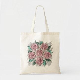 Bridal Bouquet of Pink Roses Applique Quilt TOTE