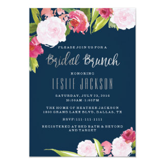 Bridal Brunch Invitation Navy and Silver
