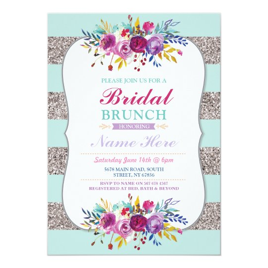 Bridal Brunch Invite Silver Glitter Mint Floral
