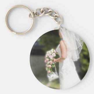 Bridal Gown Basic Round Button Key Ring