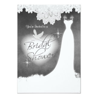 Bridal Gown on Chalkboard with Lace & White Dove 13 Cm X 18 Cm Invitation Card