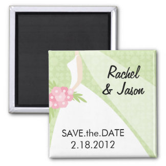 Bridal Gown | Save the Date Square Magnet