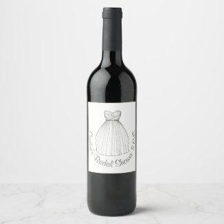 Bridal Gown Wedding Dress Shower Bachelorette Wine Label