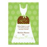 Bridal Kitchen Shower- Lime Apron Gown 13 Cm X 18 Cm Invitation Card
