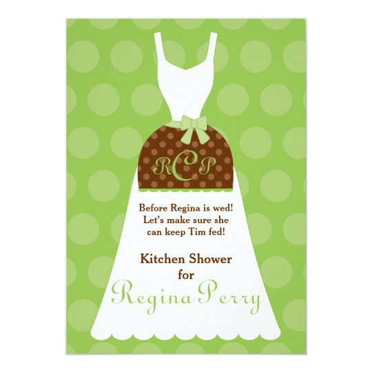 Bridal Kitchen Shower- Lime Apron Gown Card
