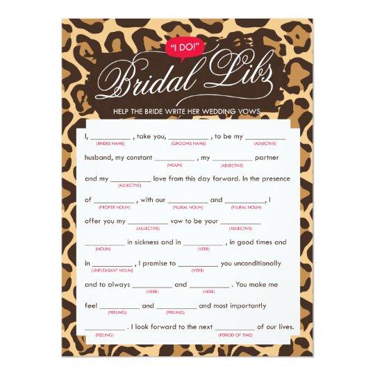 Bridal Libs Bachelorette Party Game Card (leopard)